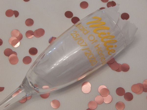Personalised Wedding Champagne Glass Name, Role & Date